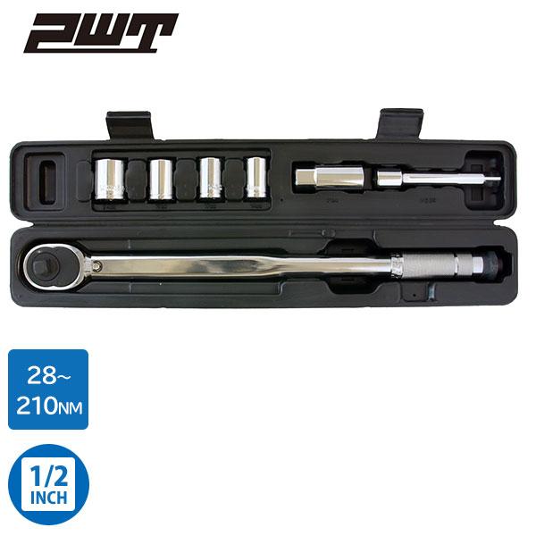 PWT 1/2インチ(12.7mm) プレセット型トルクレンチセット 28~210Nm 14/17/19/24mmソケット・21mmプラグソケット・エクステンションバー付属 TW28210ESET