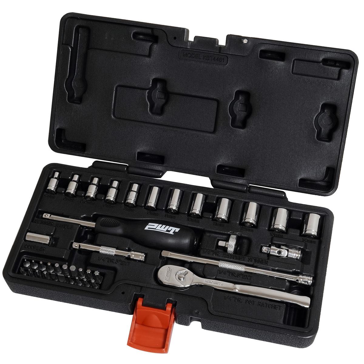 PWT ソケットレンチセット ラチェットレンチ 差込角6.35mm(1/4インチ) 工具 道具 セット 39ピース