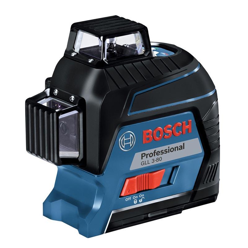 BOSCH(ボッシュ)レーザー墨出し器 : GLL3-80 [水平4ライン、垂直4ライン、鉛直、地墨クロスライン](ターゲットパネル、ポーチ、キャリングケース付き) : ボッシュ電動工具