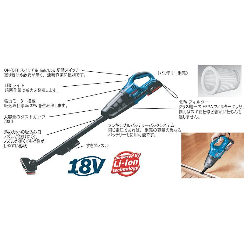 GAS18V-LI : バッテリーマルチクリーナー(3.0Ahバッテリー1個・充電器付) : ボッシュ電動工具