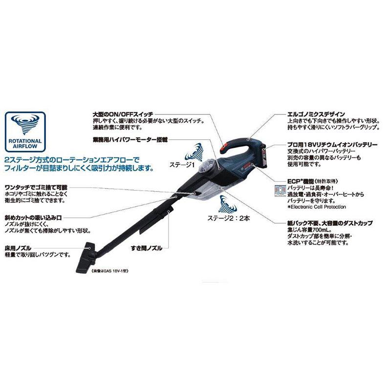 GAS18V-1 : バッテリーマルチクリーナー[2ステージ方式ローテンションエアフロー](バッテリー3.0Ah×1個・充電器付き) : ボッシュ電動工具