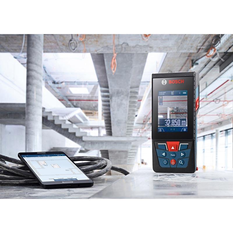 GLM150C スマキョリ : データ転送レーザー距離計 (Bluetooth 転送)(150m測定・キャリングバック付) : ボッシュ電動工具