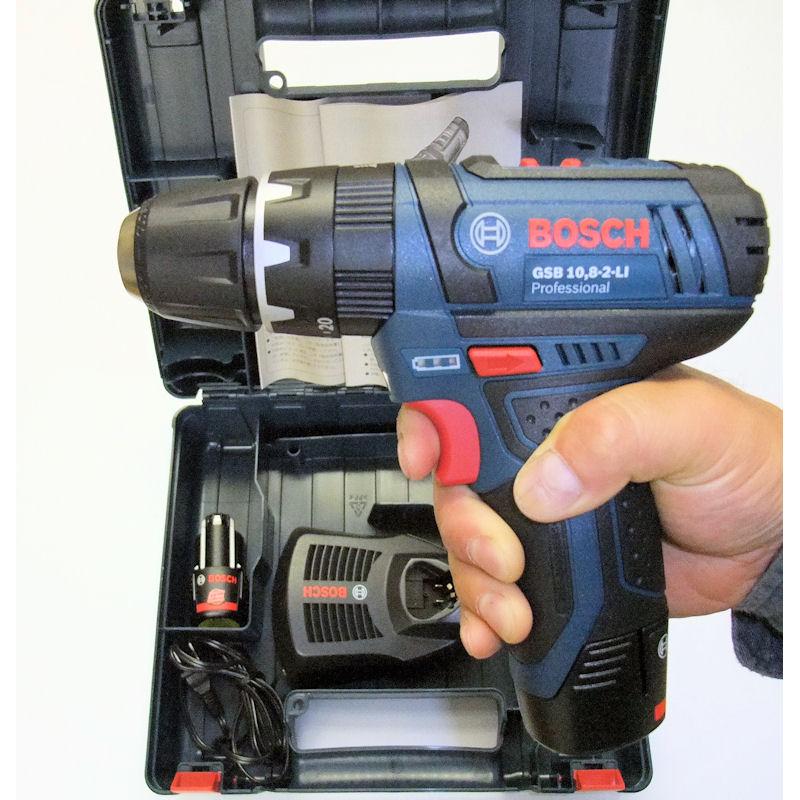 GSB10.8-2-LIN : バッテリー振動ドライバードリル(2.0Ahバッテリー2個、充電器、キャリングケース付き) : ボッシュ電動工具