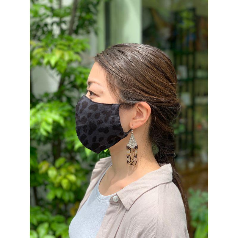 抗菌防臭マスク レオパード / BLACK(オーガニックコットン )