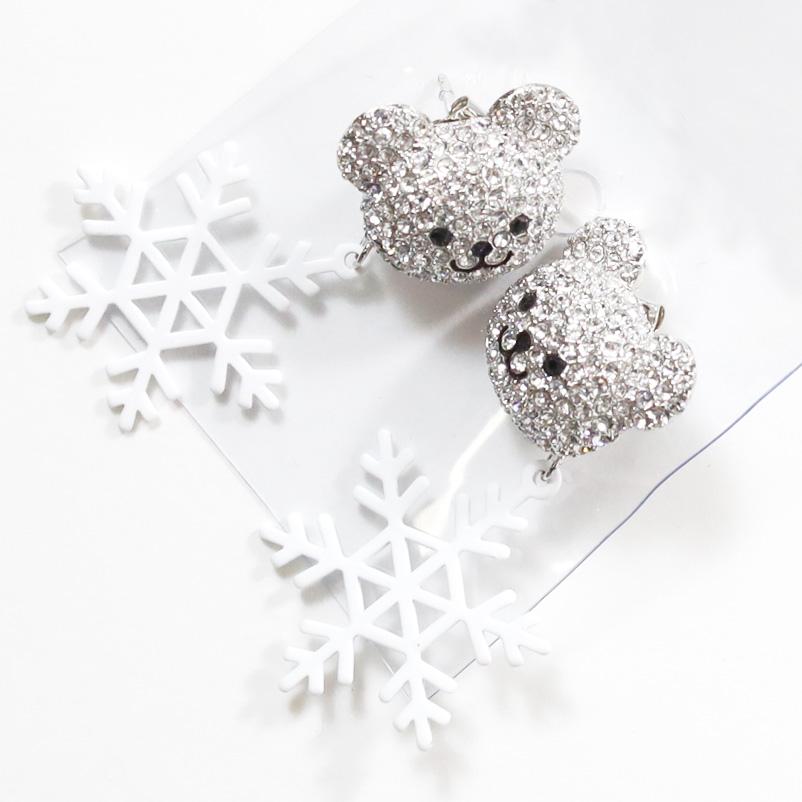 【PREGA】くま 雪の結晶 ピアス