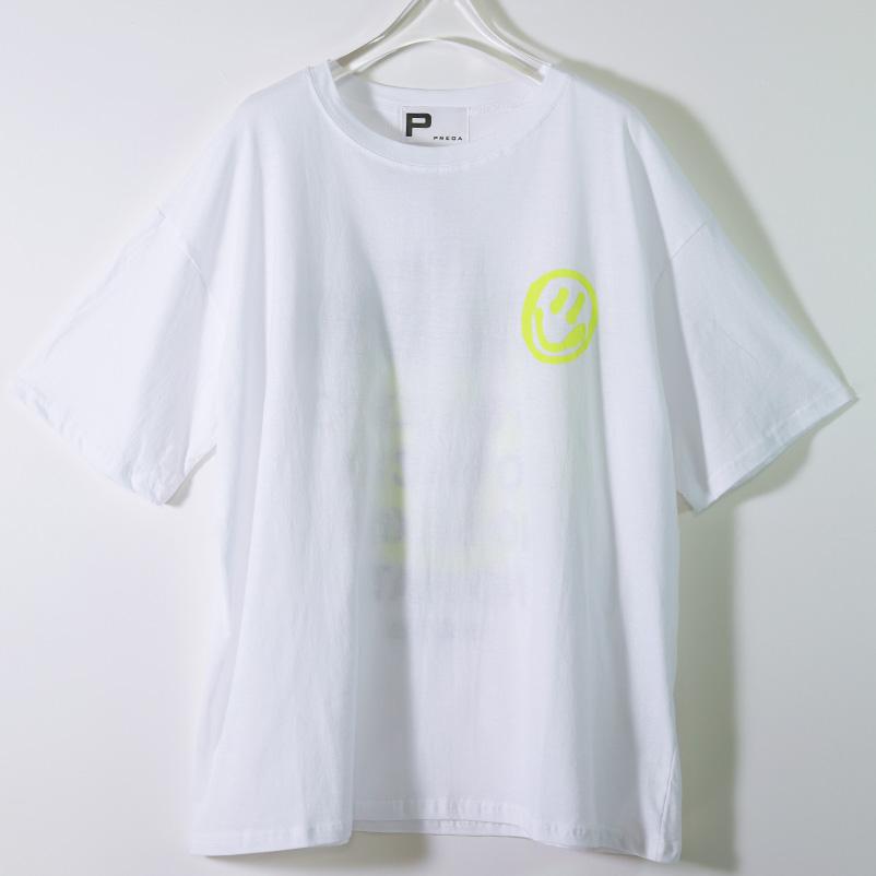 【PREGA】ロゴプリント ビッグシルエットTシャツ<イエロー>