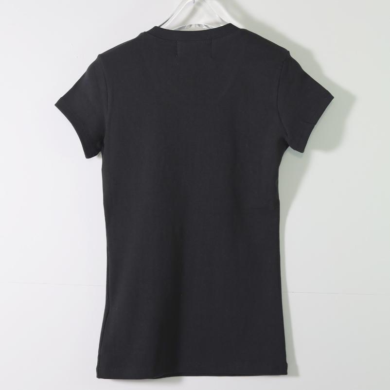 【PREGA】エンボス 箔プリントTシャツ<ブラック>