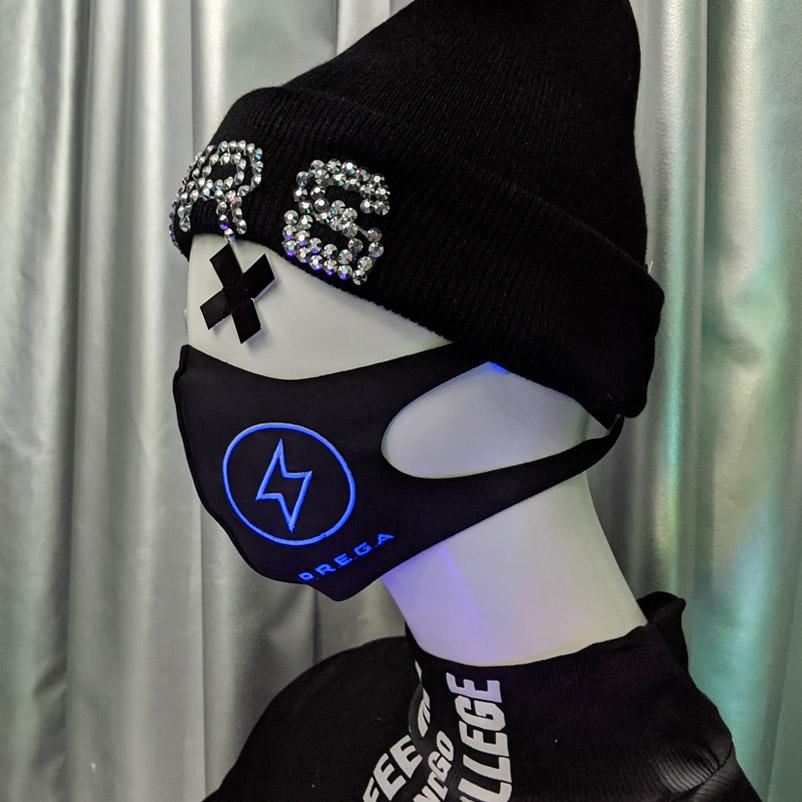 【PREGA】ブラックライトで光る稲妻オリジナルマスク