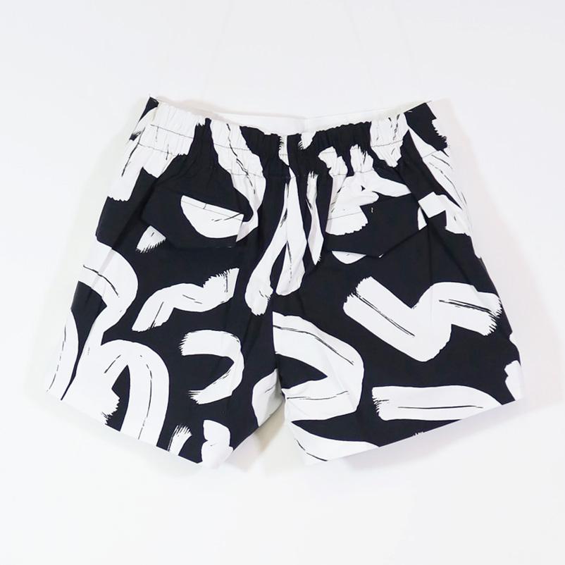 【PREGA】グラフィックプリント ショートパンツ<ブラック>