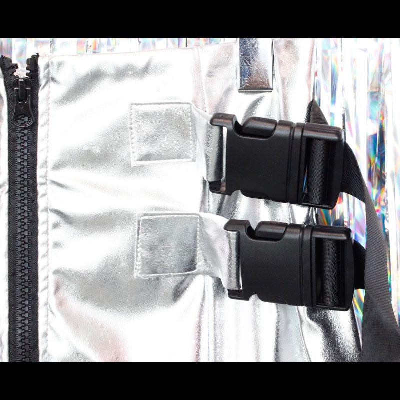 【PREGA】ダブルベルト付きメタリックシルバースカート