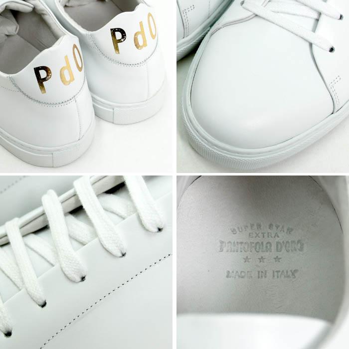パントフォラ・ドーロ(Pantofola d'Oro)<br>レザースニーカー<br>PDO-SM51<br>ホワイト<br>送料無料