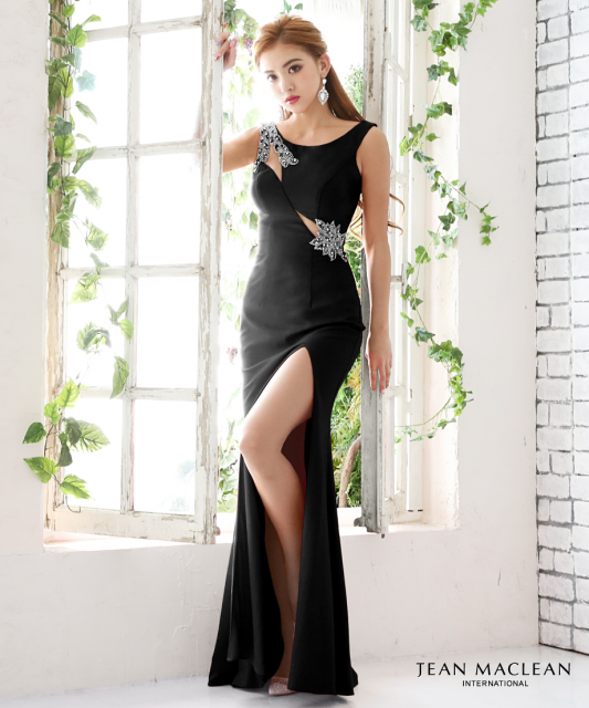 【IRMA】ワンカラーリーフビジュースリットロングドレス