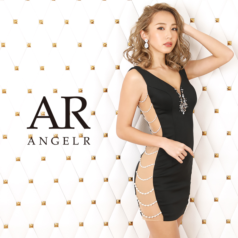 【Angel R】サイドパールビジューデザインタイトミニドレス