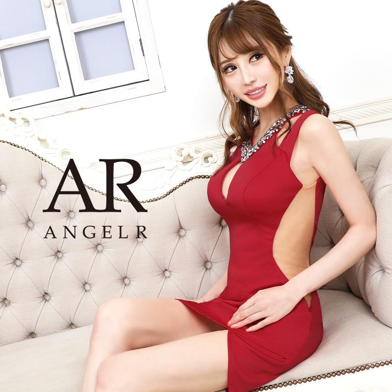 【Angel R】デコルテビジューカッティングデザインタイトミニドレス