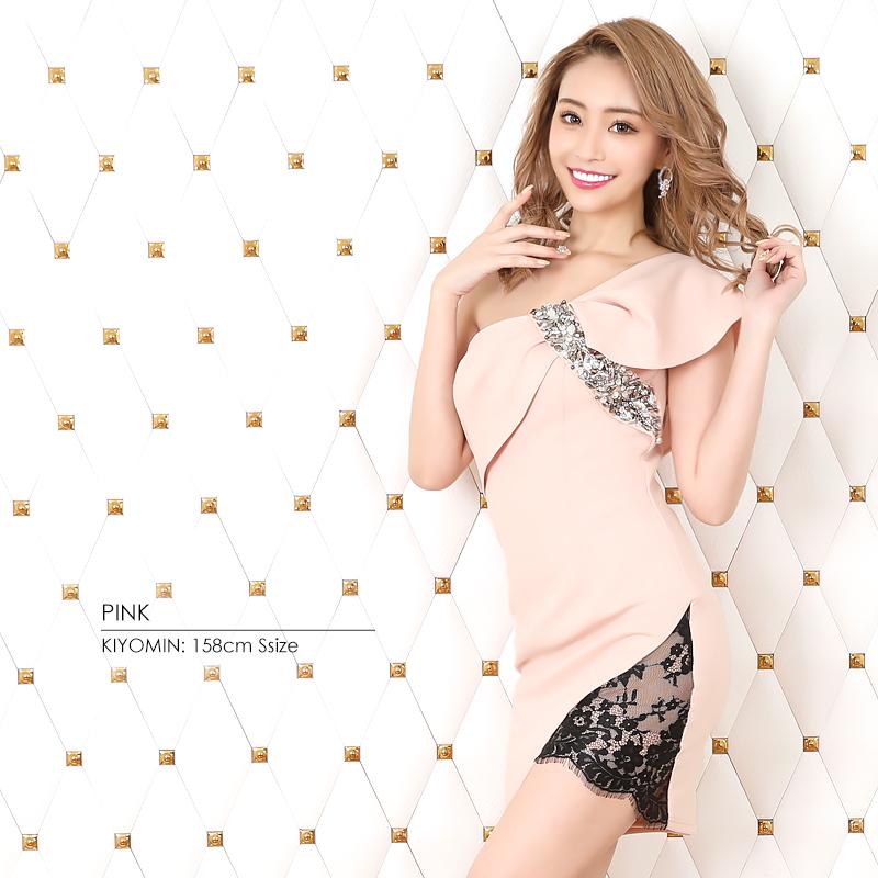 【Angel R】ワンショルダービジューデザインタイトミニドレス