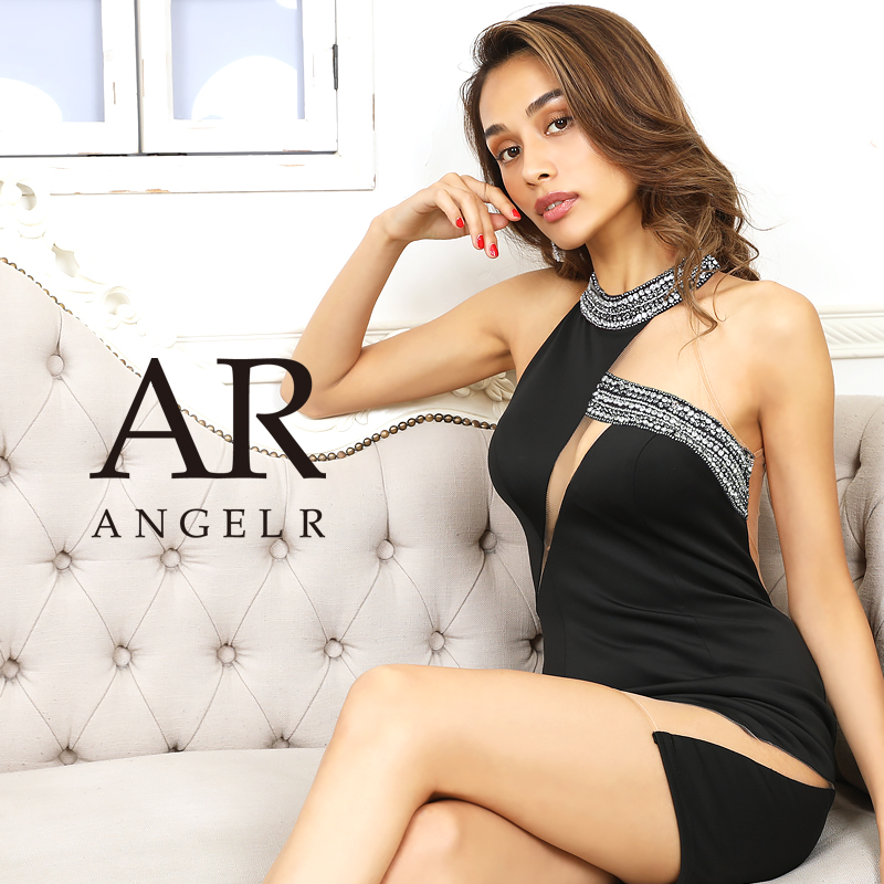 【Angel R】アシンメトリーカッティングビジュータイトミニドレス