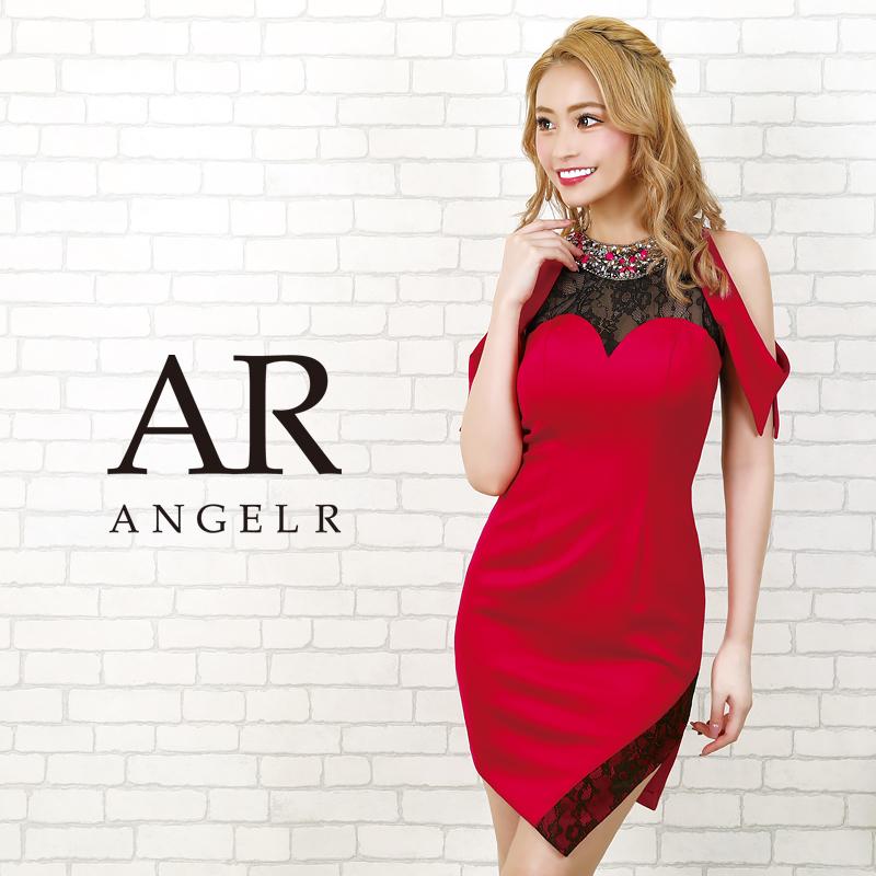 【Angel R】オープンショルダーレースタイトミニドレス