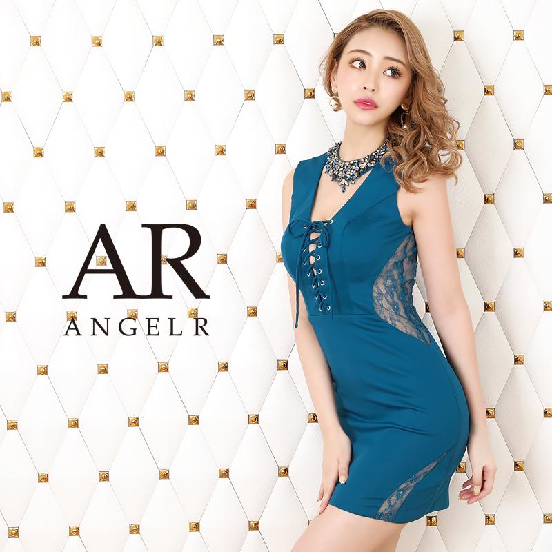 【Angel R】デコルテビジューレースアップタイトミニドレス