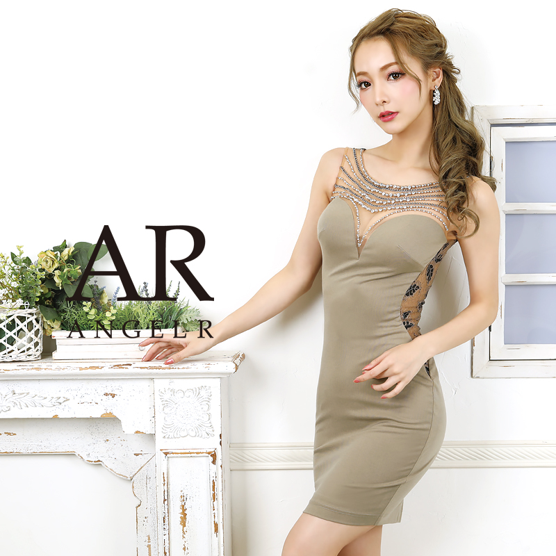【Angel R】デコルテビジューサイドレースタイトミニドレス