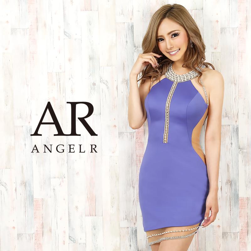 【Angel R】デコルテオーロラビジューシアーカットスカートタイトミニドレス