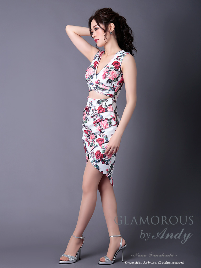 【Andy GLAMOROUS】フラワープリントウエストカットタイトミニドレス