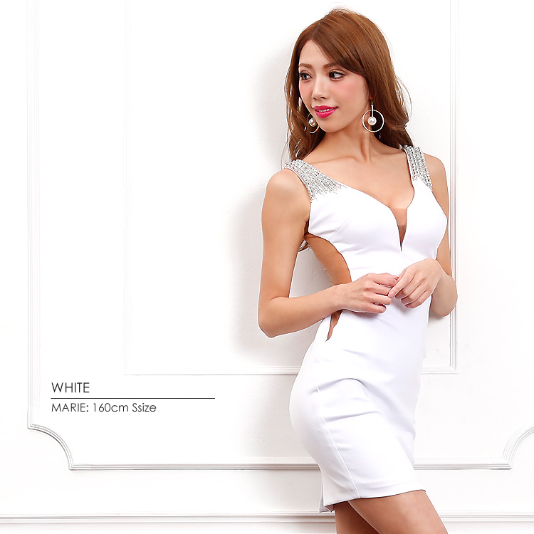 【Angel R】サイドバックメッシュタイトミニドレス