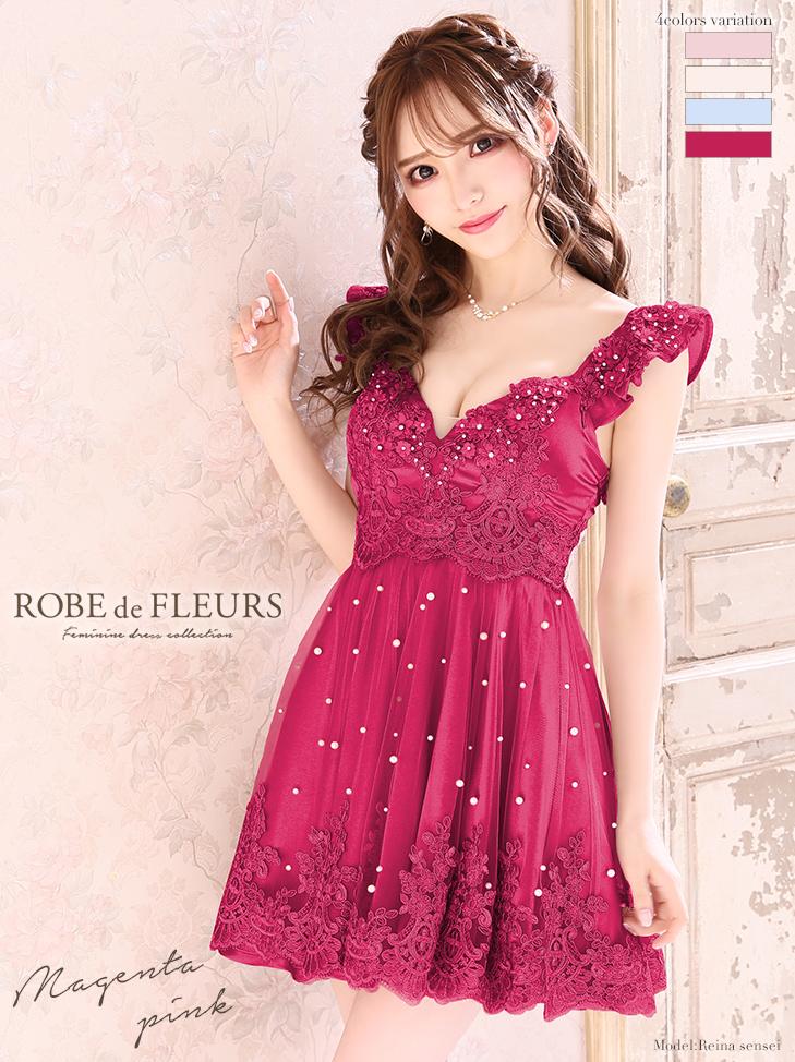 【ROBE de FLEURS】立体フラワー×パールチュールフレアミニドレス