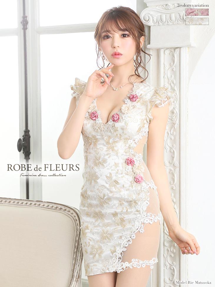 【ROBE de FLEURS】3Dフラワーモチーフ×ラメ刺繍レースタイトミニドレス