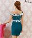 【IRMA】オフショルダーフラワーレースタイトミニドレス
