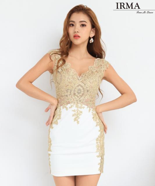 【IRMA】ゴールド刺繍レースタイトミニドレス