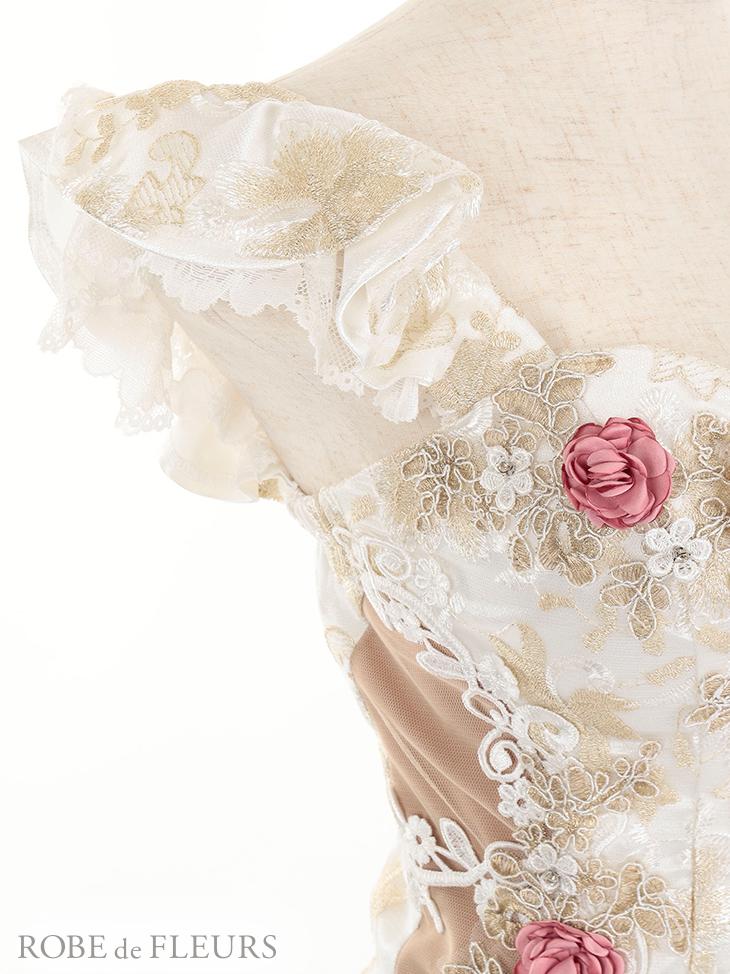 【ROBE de FLEURS】サイドチュール切替×フラワー刺繍レースタイトミニドレス