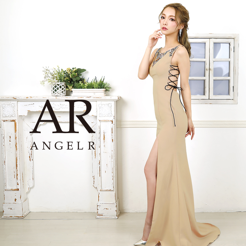 【Angel R】レザーコードビジュータイトロングドレス