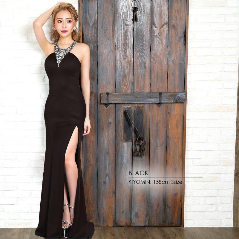 【Angel R】デコルテVデザインビジュータイトロングドレス