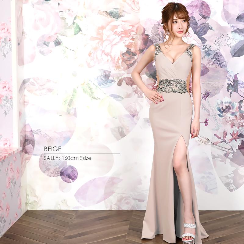 【Angel R】ウエストビジューサイドシアータイトロングドレス
