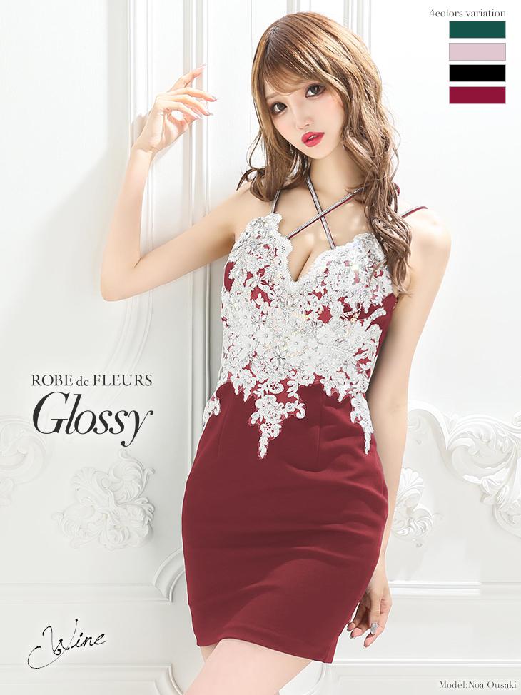 【ROBE de FLEURS Glossy】刺繍レース×ストレッチタイトミニドレス