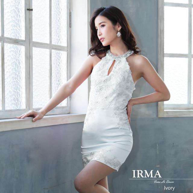 【IRMA】ワンカラーレースタイトミニドレス