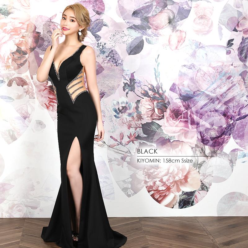 【Angel R】ウエストラインビジューデザインタイトロングドレス