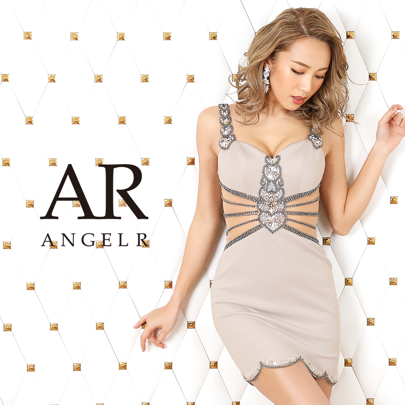 【Angel R】ラグジュアリービジューショルダーデザインタイトミニドレス