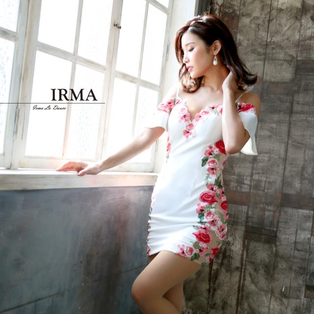 【IRMA】フラワーレースオフショルダータイトミニドレス