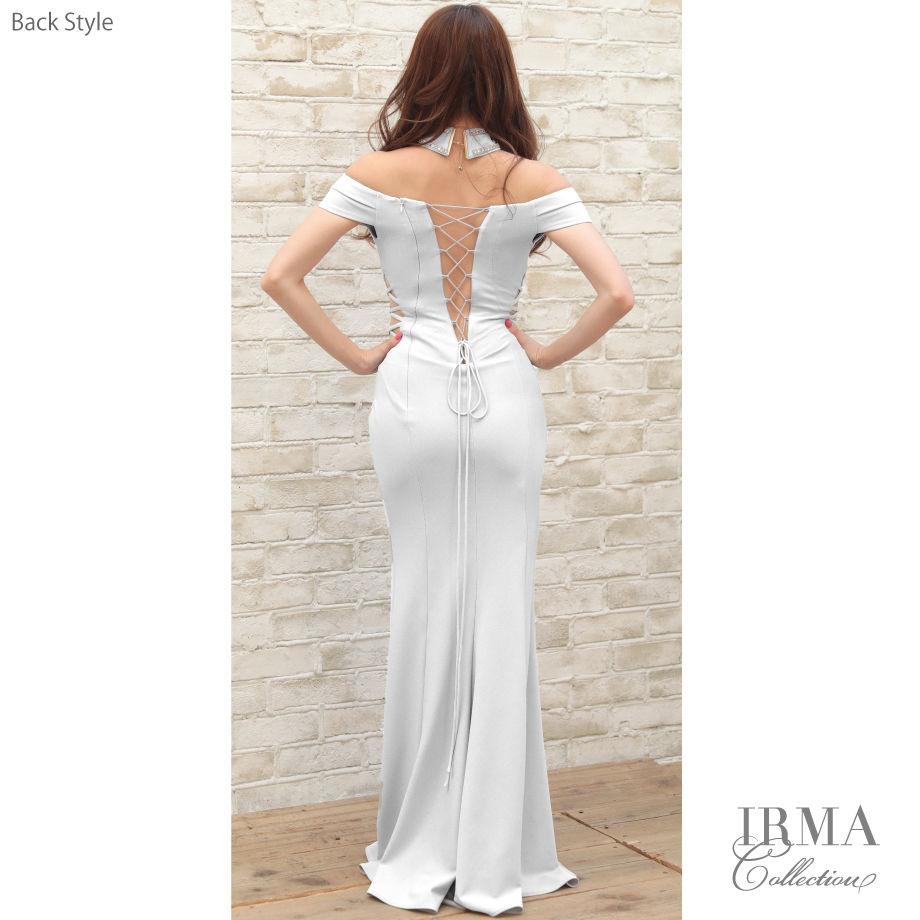 【IRMA】チョーカーオフショルダースリットロングドレス