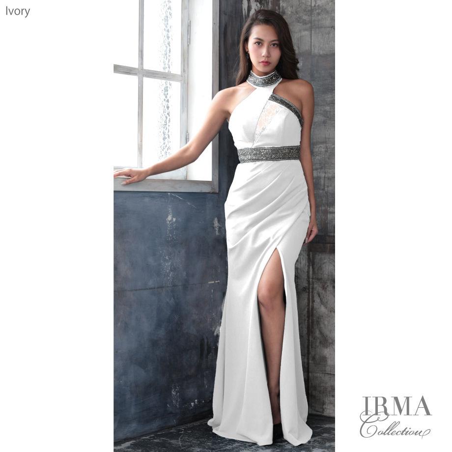 【IRMA】チョーカークリスタルテープロングドレス