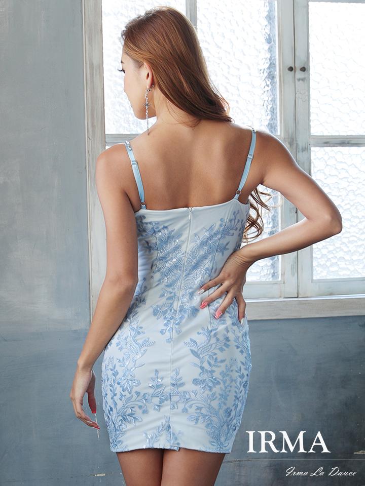 【IRMA】刺繍レースキャミソールビジュータイトミニドレス