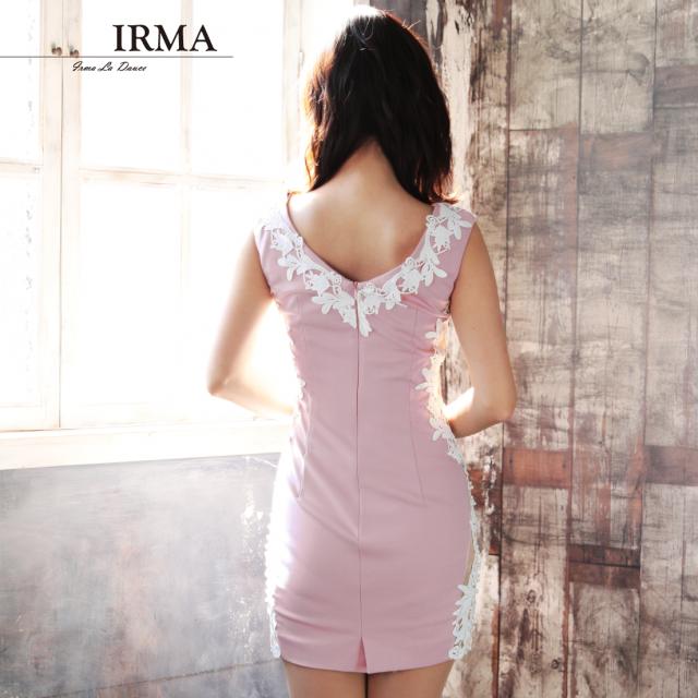 【IRMA】フラワーレースサイドシアータイトミニドレス