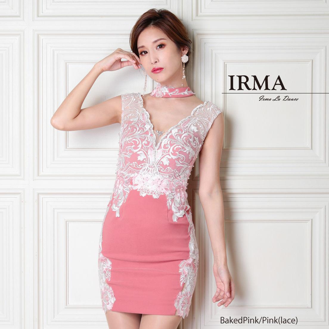 【IRMA】チョーカーフラワーレースタイトミニドレス