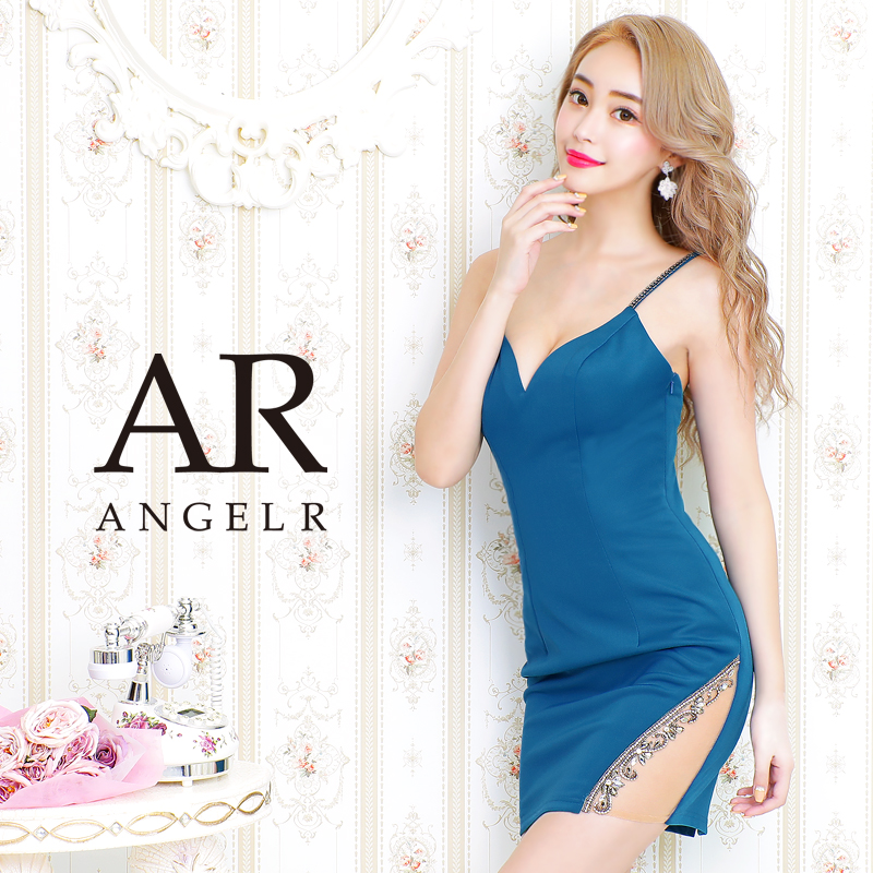 【Angel R】ビジュー&メッシュデザインタイトミニドレス