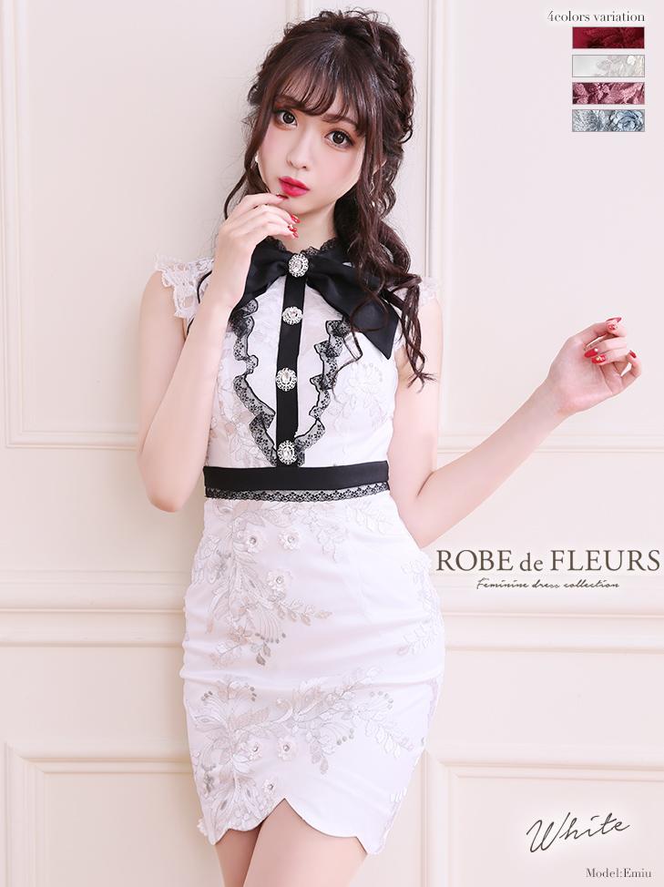 【ROBE de FLEURS】リボンネック×ラグジュアリータイトミニドレス