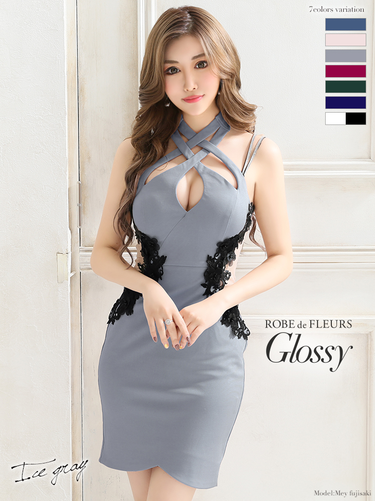 【ROBE de FLEURS Glossy】サイドチュール切替×ストレッチタイトミニドレス