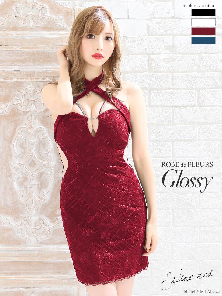 【ROBE de FLEURS Glossy】サイドチュール切替×ホルターネックタイトミニドレス