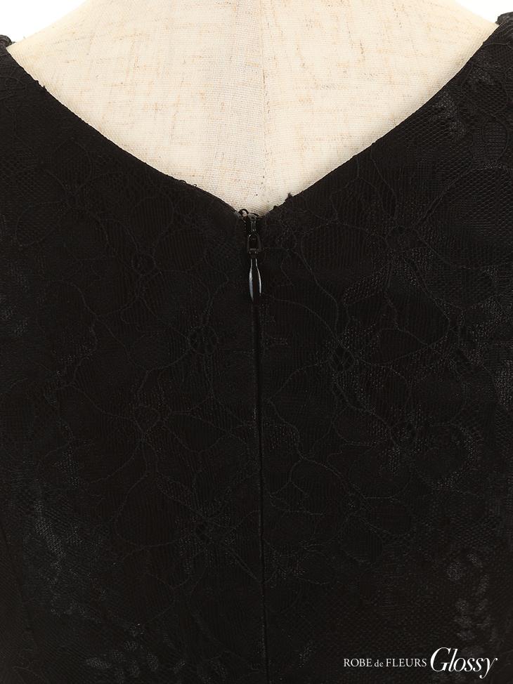 【ROBE de FLEURS Glossy】チュール切り替え×レースタイトミニドレス
