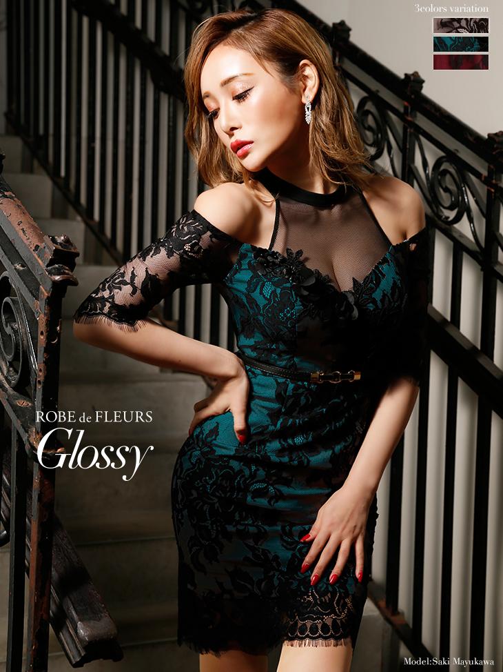 【ROBE de FLEURS Glossy】立体フラワーレース×ホルターネックタイトミニドレス